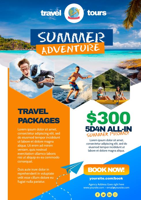 Summer Adventure Flyer A4 template