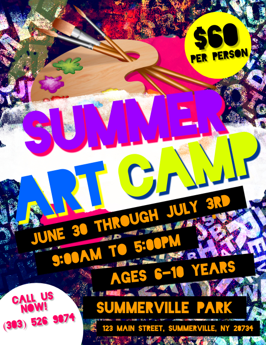 Summer Art Camp Flyer Template Postermywall