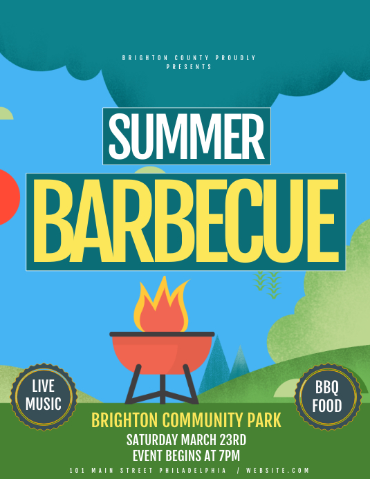 Summer Barbeque ใบปลิว (US Letter) template