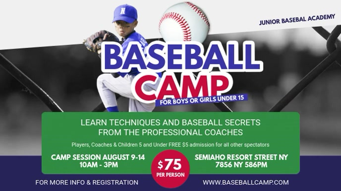 Summer Baseball Camp Advert Banner