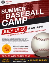 summer baseball camp flyer advertising templa Pamflet (Letter AS) template