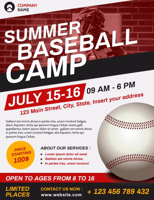 summer baseball camp flyer advertising templa Volante (Carta US) template