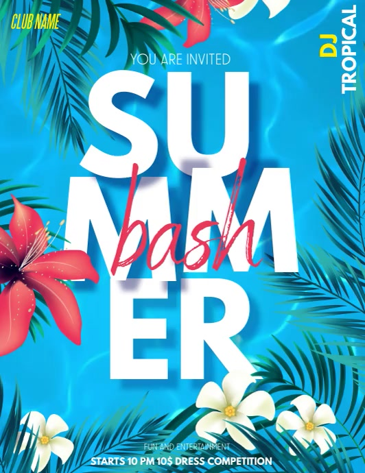 Summer bash,Pool party,Beach party Volante (Carta US) template