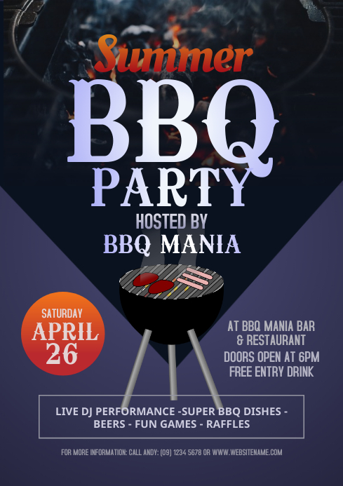 Summer BBQ Party Flyer A4 template
