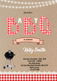 Summer bbq shower birthday invitation