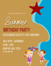 summer beach birthday party Design Template