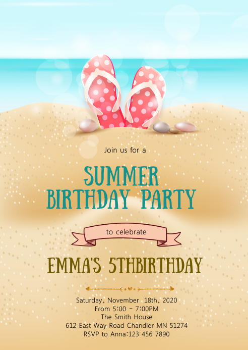 Summer beach birthday party invitation A6 template