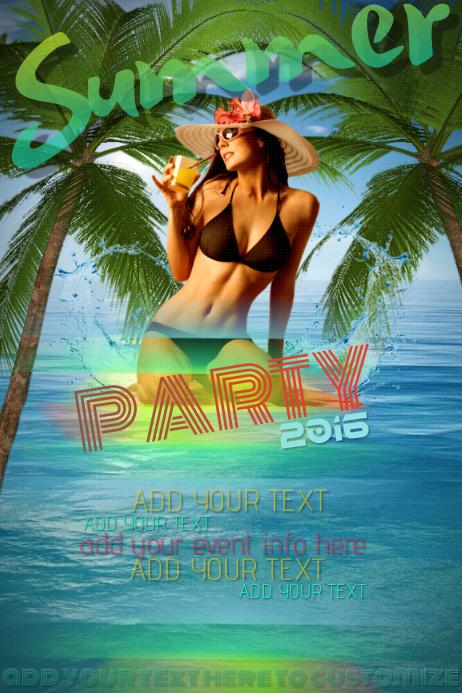 Summer Beach Party Bikini Tropical Palm Tree Tiki Club