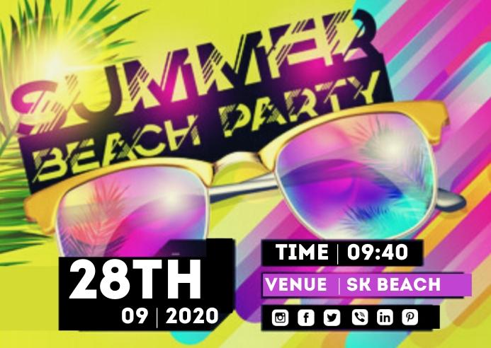Summer Beach Party Postkort template