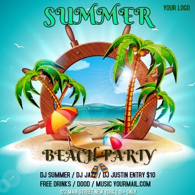 summer BEACH party Square (1:1) template
