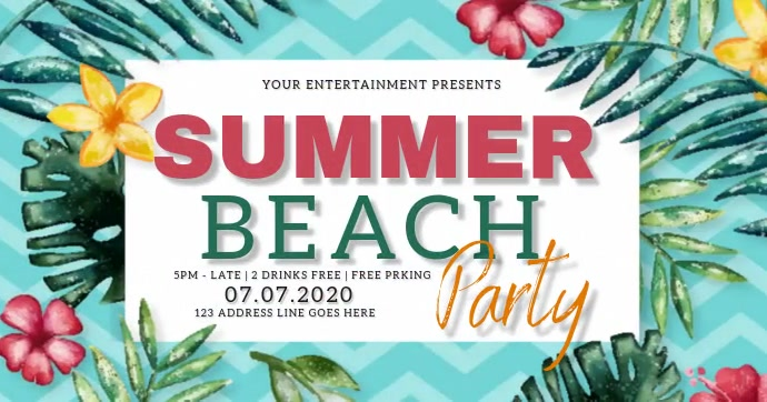SUMMER BEACH PARTY EVENT Video Template Gedeelde afbeelding op Facebook