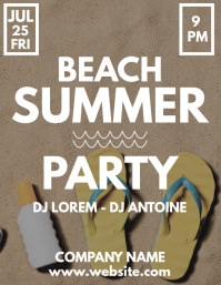 Summer beach party flyer ad