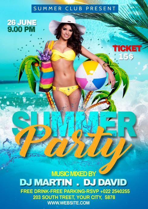 Summer Beach Party Flyer Template A4