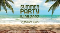 Summer Beach Party Header cover Event Promo Digital na Display (16:9) template