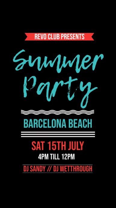 Summer Beach Party Instagram Template Digitale display (9:16)