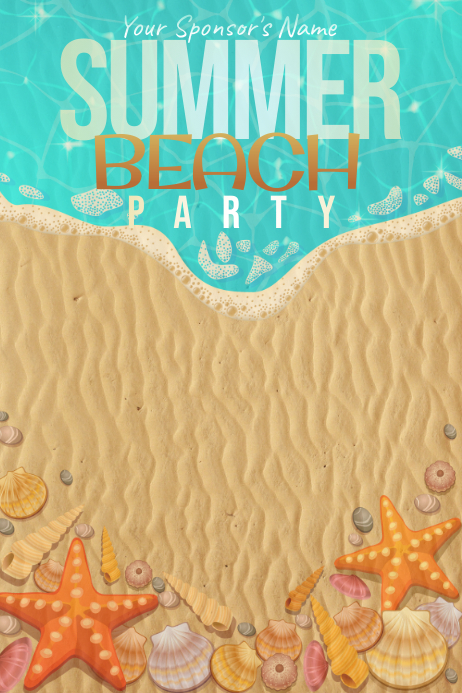 summer beach party pool water vacation event shell template