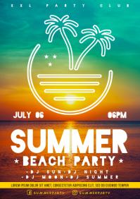 SUMMER BEACH PARTY POSTER A4 template