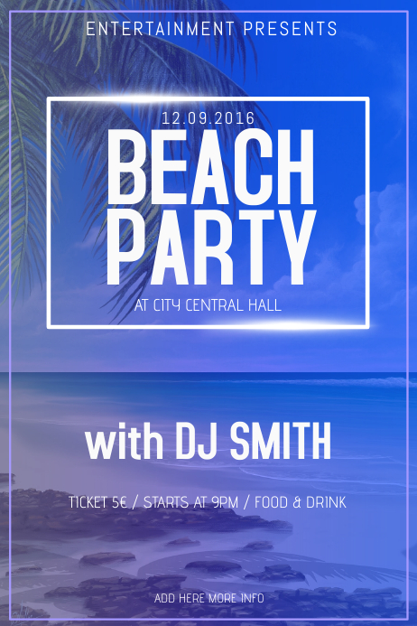 Summer Beach Party Flyer Poster Template