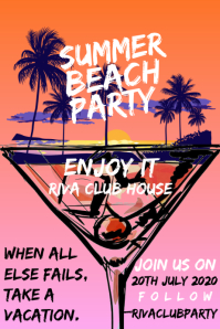 Summer Beach Party Poster Template 海报