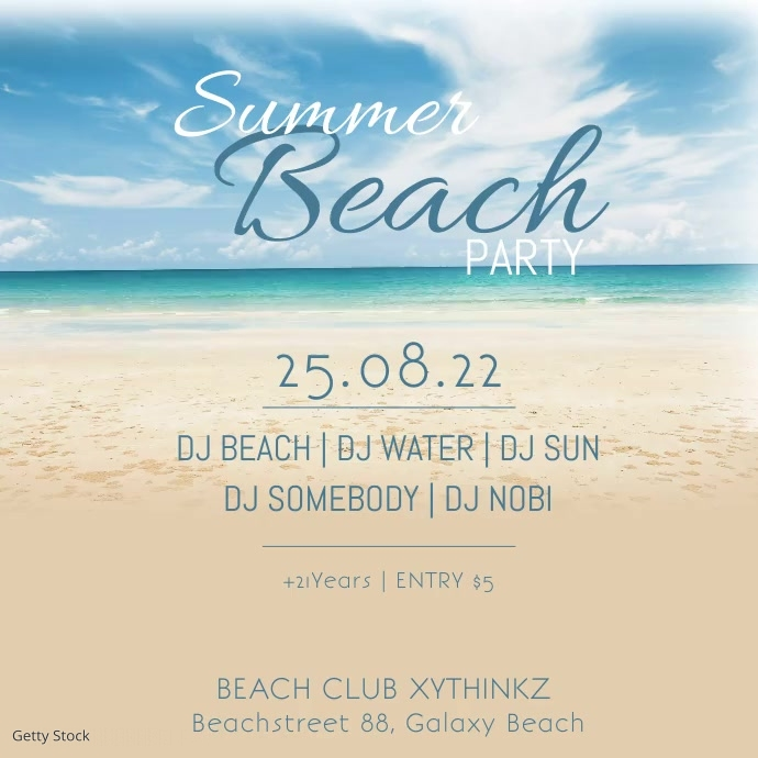 Summer Beach Party Sand Water Holiday Bar Ad