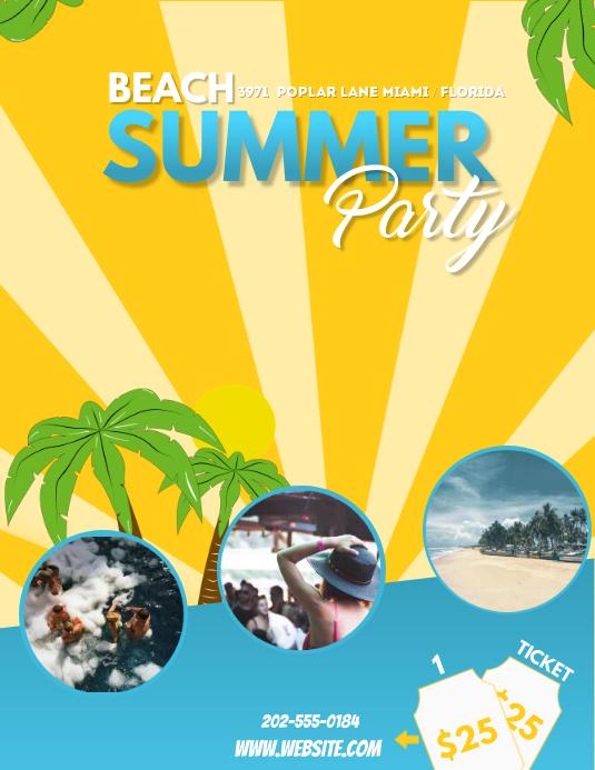 Summer beach party template Volante (Carta US)