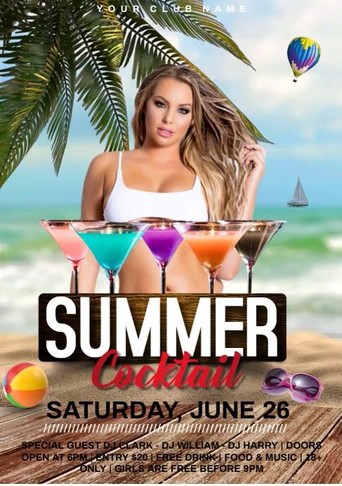 summer beach party video A4 template
