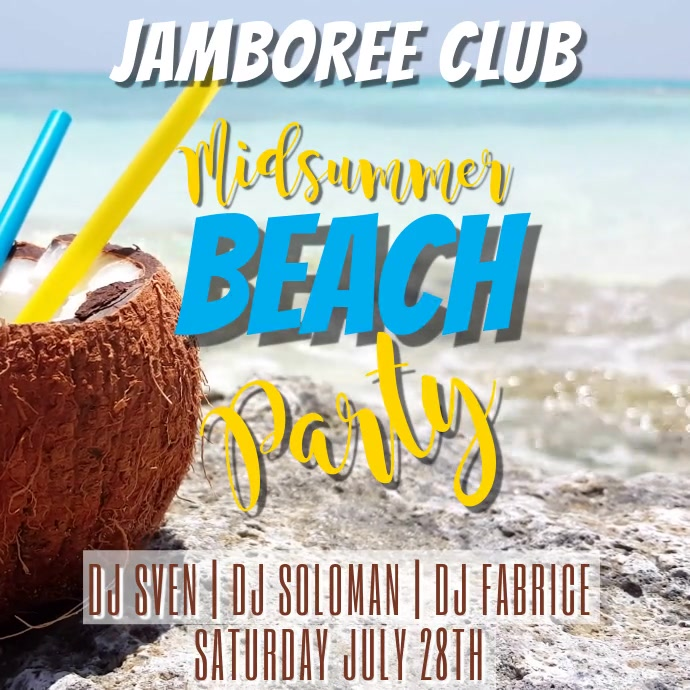 Summer Beach Party Video Template Cuadrado (1:1)