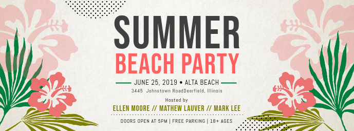 Summer Beach Pool Party Facebook Cover
