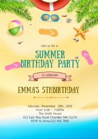 Summer beach pool party invitation