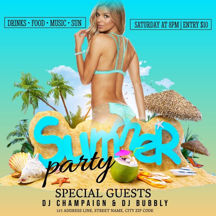 SUMMER BEACH SEA PARTY Event Flyer Template Iphosti le-Instagram