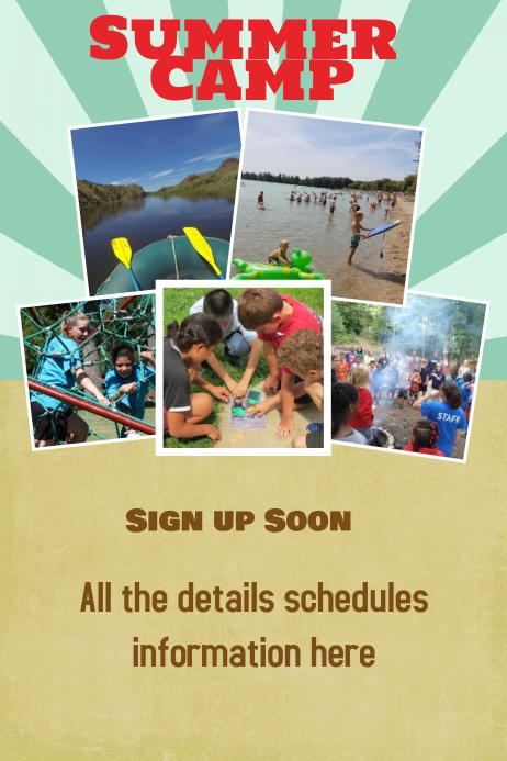 summer beach spring break camp vacation poster flyer template