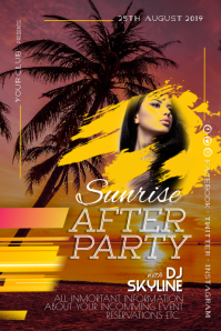 Summer Beach Sunrise After Party Event Poster
