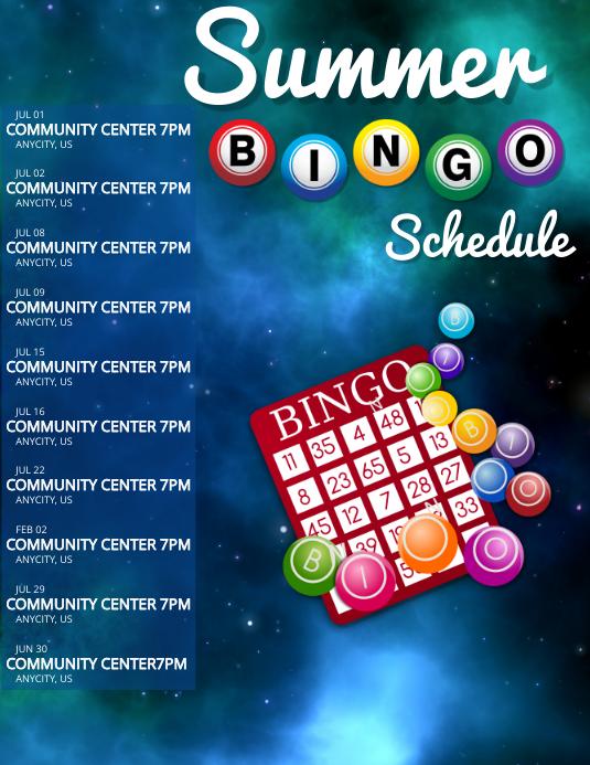 Summer Bingo Schedule