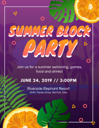 Summer Block Party Invitation Flyer (US Letter) template