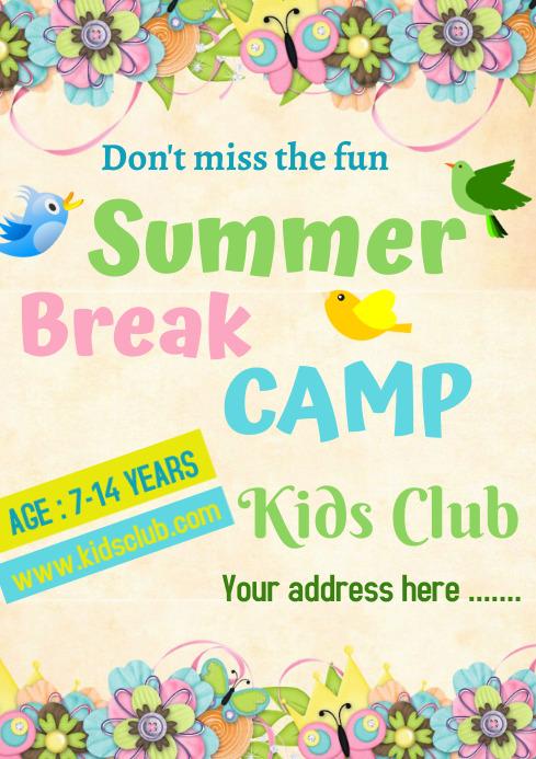 Summer Break Camp A 4 size Template A4