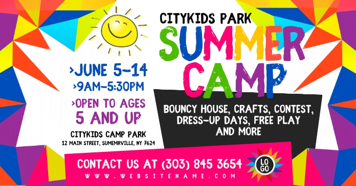 Summer Camp Obraz udostępniany na Facebooku template