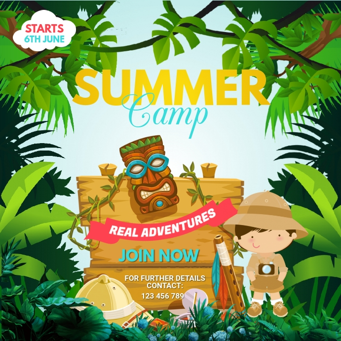 Summer Camp Flyer, Summer, Holidays Publicação no Instagram template