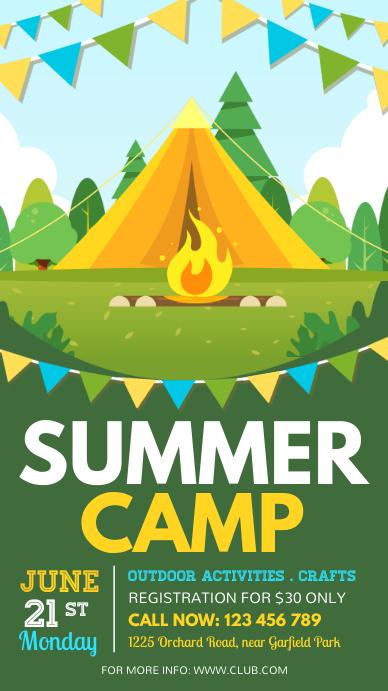 Summer Camp Flyer, Summer, Holidays Historia de Instagram template