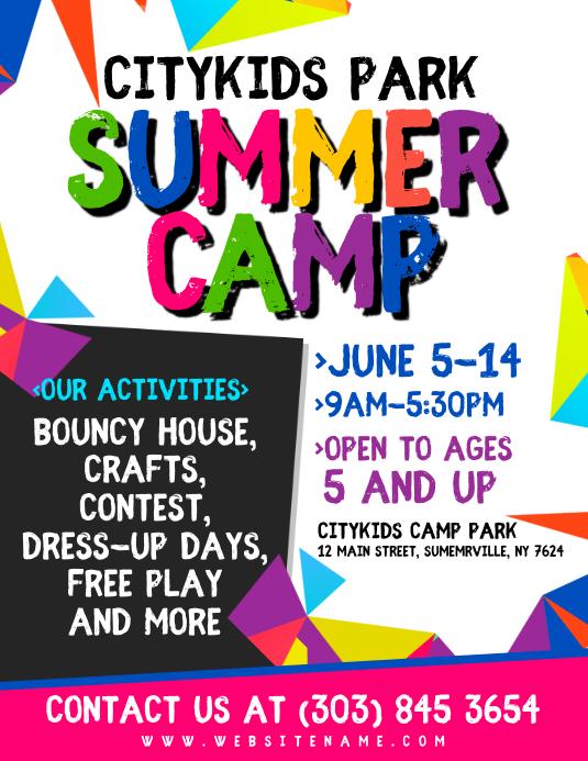 Summer Camp Flyer Volante (Carta US) template
