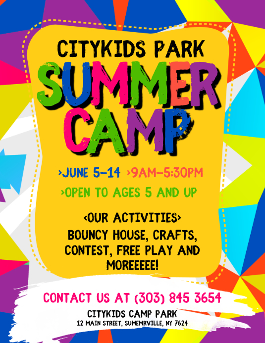 шаблон Summer Camp Flyer Postermywall