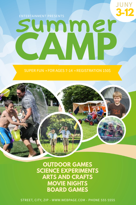 Summer Camp Flyer Template โปสเตอร์