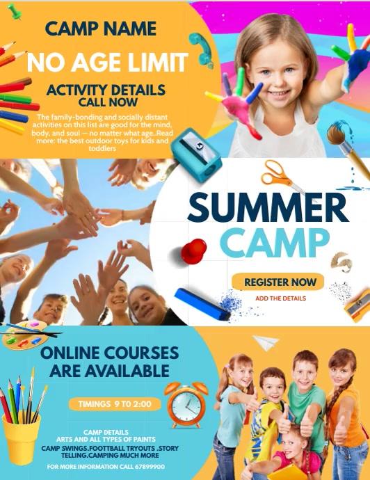 summer camp flyers, Kids camp, Kids activities 传单(美国信函) template