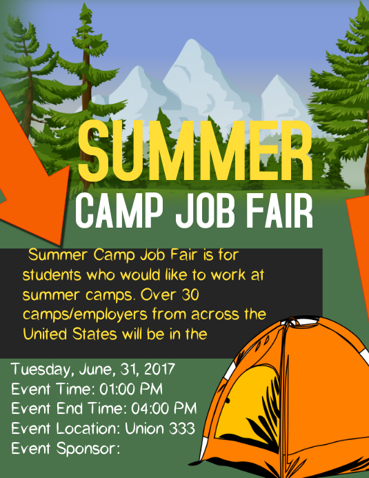 Halloween Classroom Design ~ Summer camp job fair template postermywall