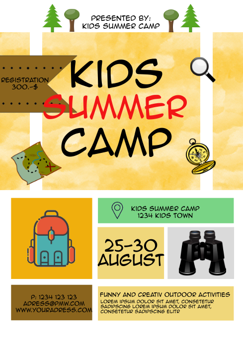 Summer camp kids activation template flyer