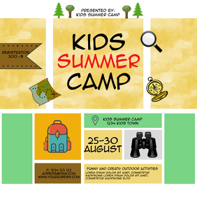 Summer camp kids activation template flyer in