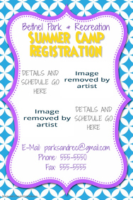 summer Camp Registration Flyer Poster Party Invitation