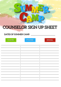 Summer Camp Sign Up Sheet Template A4