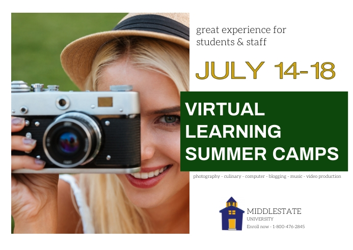 summer camp/virtual/STEM/college/online class Kartu Pos template