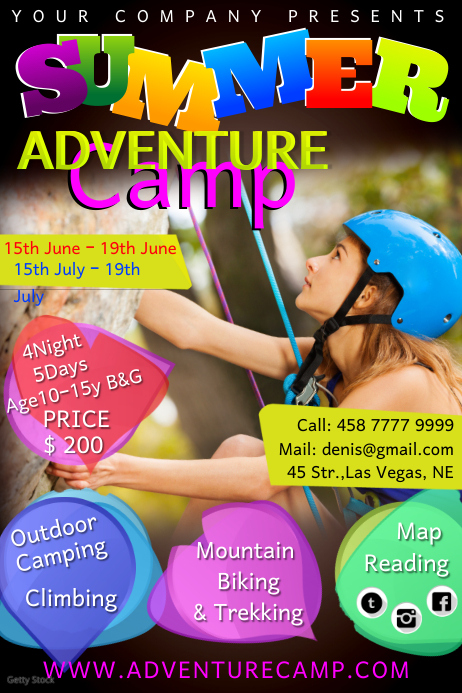 summer camp10 Póster template