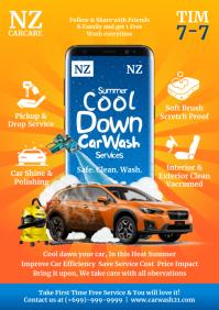 Summer Car Wash Service Template A4